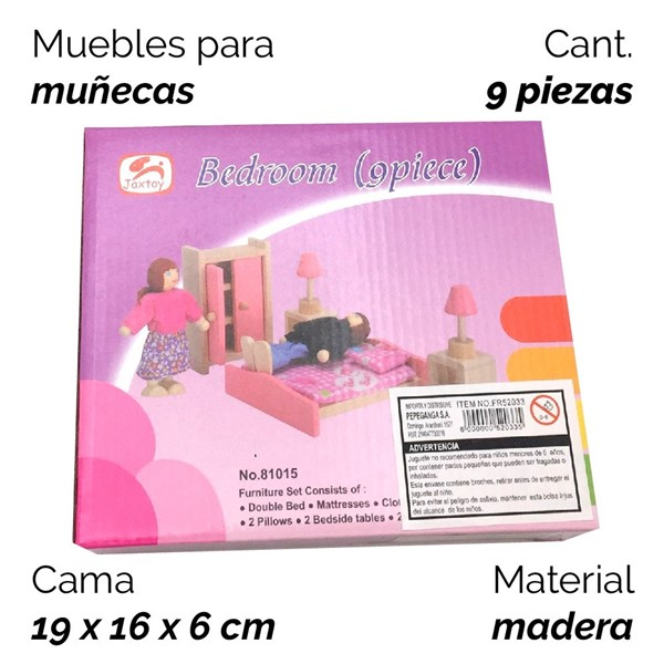 Imagen de MUEBLES MUÑECA DE MADERA 9 PIEZAS